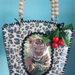 Handcrafted one of kind kitschy basket/ bag