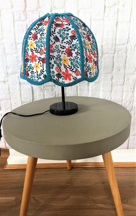 Unique retro scalloped edged lampshade with floral fabric and aqua blue braiding