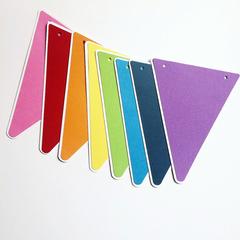 Rainbow Party Bunting, Triangle pennant banner. Rainbow birthday party decor.