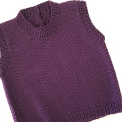 SALE 40% off -  Purple  Cashmere/wool   Vest -  3-6 months - Hand knitted