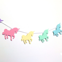 Rainbow Unicorn Garland. Pastel Birthday party banner.