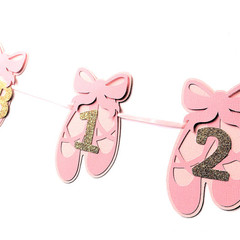 First Birthday Ballet Shoes Banner. NB-12 Month photo garland. Baby girl.