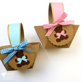 Pink Teddy Bears Picnic Mini Baskets. Birthday party or baby shower favours.