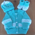 Babies Cardigan, Beanie and Booties to fit premmies size 0000.