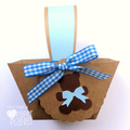 Blue Teddy Bears Picnic Mini Baskets. Birthday party or baby shower favours.