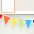 Rainbow Party Bunting, Triangle pennant banner. Rainbow birthday party decor.