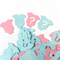 Mini Baby romper gender reveal shapes. Confetti shapes pink & blue. Baby shower.