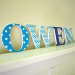 Wooden 9cm Wall or Door Name Letters. 4 Letters.
