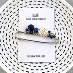 Handcrafted wrap or knit wear pin brooch - white howlite and lapis lazuli