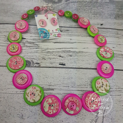 Button Necklace - Vintage Floral Tilda Buttons - Button Earrings - Whimsy