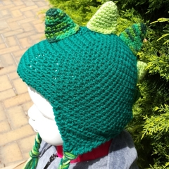 Dinosaur earflap hat - Green or taupe crochet.