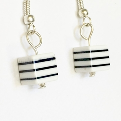 Contemporary Seaside Stripe Cube Black and White Earrings.