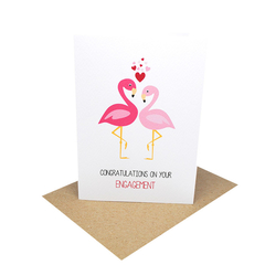 Engagement Card - 2 Flamingos with Love Hearts - ENG023