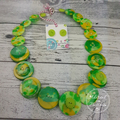 Green and Gold - Resin Button Necklace - Button Earrings - Set
