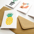 Assorted Mini Gift Card Pack and Envelopes, Pineapple, Cactus, Flamingo, Fox