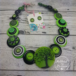 Classic Black Lime - Tree of Life Button - Button Necklace - Earrings
