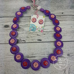Button Necklace - Purple Red Stripes - Button Earrings - Whimsy
