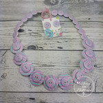 Button Necklace - Pink Stripes - Button Earrings - Whimsy