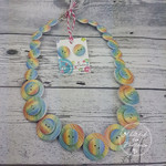 Button Necklace - Rainbow Stripes - Button Earrings - Whimsy