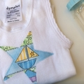 "Size 1 to 3 months ""Trains, Boats and Planes Nappy Pants and Appliqued Singlet"