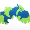 Safari Animal Garland Lion, Giraffe, Elephant. Brown, Pink or Blue. Jungle leaf.