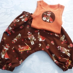 "New Born ""Monkey Business"" Harem Pants and Appliqued Singlet"