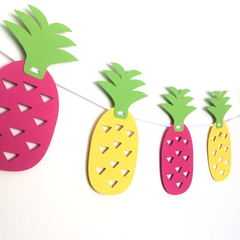 Pink & Yellow Pineapple banner. Tropical bunting, garland. Birthday party decor.