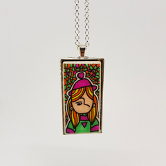Headline Series : Heather Ink on Paper on Tile Necklace