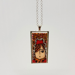 Headline Series : Marion Ink on Paper on Tile Necklace