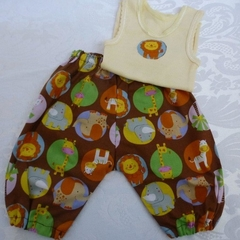 "New Born ""Animal Fun"" Harem Pants and Appliqued Singlet"