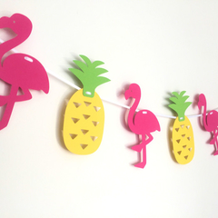 Tropical flamingo & pineapple. Hot Pink, Yellow & Green. Summer party bunting.