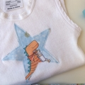 """Size 1 to 3 months """"Dinos"""" Nappy Pants and Appliqued Singlet"""