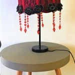 Moulin rouge red lampshade with black flowers and red crystal chandelier beads.