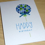 Happy Birthday card - blue & green balloon