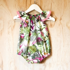 Tropical monstera,  protea & palm Baby Girls Romper / Onesie / Playsuit