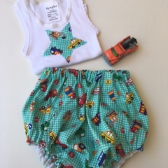 """1 to 3 months """"Multi Vehicles"""" Nappy Pants and Appliqued Singlet"""