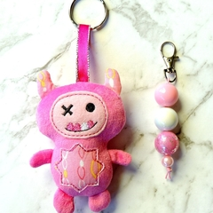 Pink monster bag charm & zipper pull set