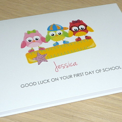 Good Luck on your first day of school card - Personalised