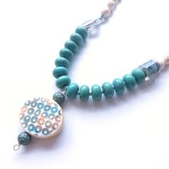 Circles beaded  ceramic statement pendant necklace