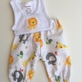"Size New Born ""Zoo Animals"" Harem Pants and Appliques Singlet"