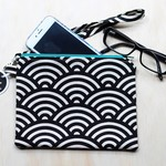 Black and white Rainbow Clutch, wristlet, purse with strap