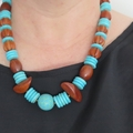 Dreams turquoise blue and wood necklace