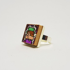 Headline Series : Jacob Original Ink  on Paper on Tile Adjustable Ring