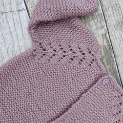 Gorgeous Hand Knitted Cardigan in Lilac/Purple Pure Wool, fits 2-3 years