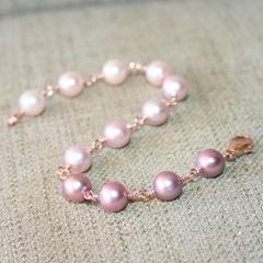 Ombre Rose Pink Pearl Bracelet, 14K Rose Gold Filled, Genuine Freshwater Pearls