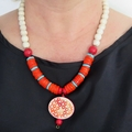 Circles beaded chunky statement red orange blue pendant necklace