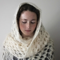 Snow - Hand Spun Cream Wool Crochet Shawl Wrap