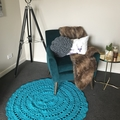 Aqua teal Crochet floor rug Free postage