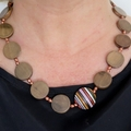 Copper days beaded wooden statement necklace