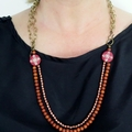Flowered wood + chain statement necklace